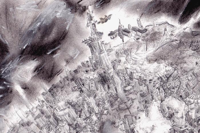 Маленькая планета-город. Рисунок, Длиннопост, Планета, Город, Космопорт, Порт, Набросок