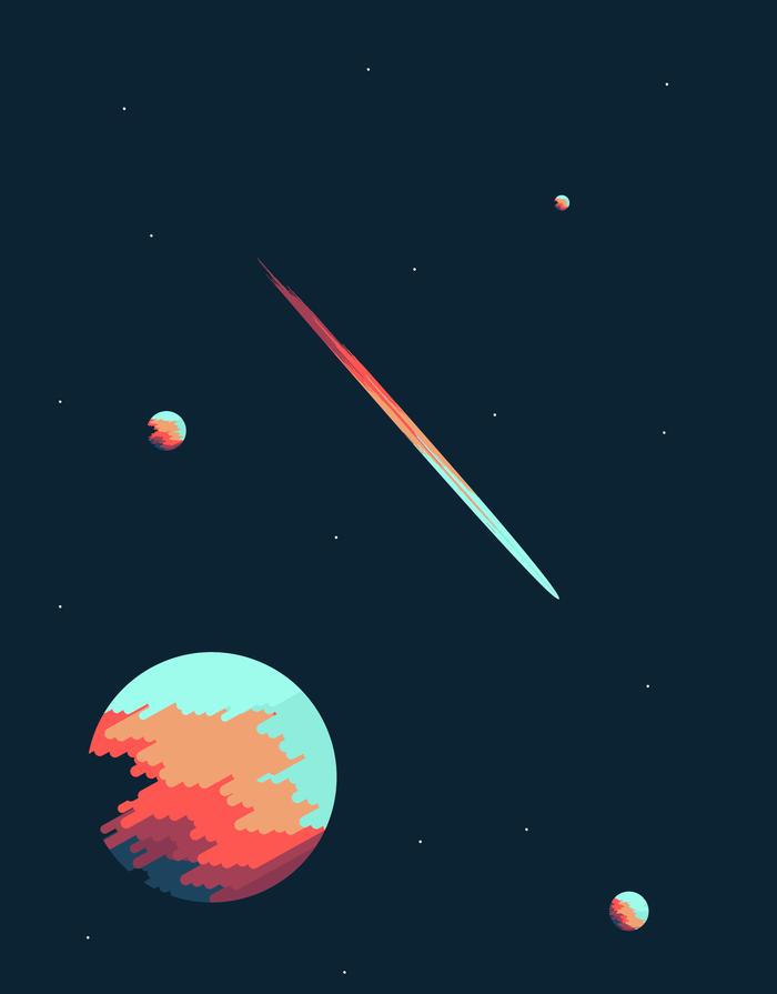 Два вектора Векторная графика, Corel Draw, Космос, Длиннопост