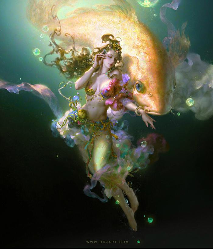 Золотаярыбка. Золотая Рыбка, Девушки, Арт, Иллюстрации, Digital, Guangjian Huang, Huang Guangjian