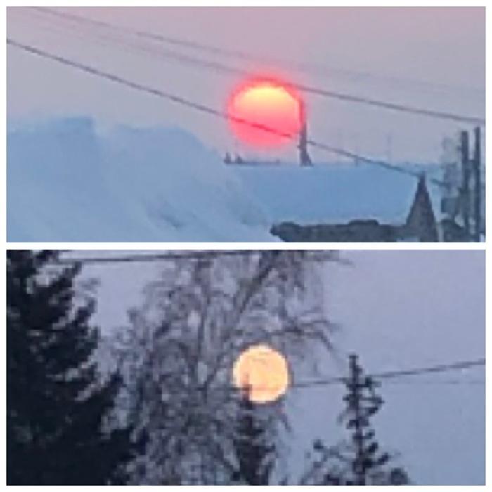 Встреча солнца и луны. Разница между фотографиями - 10 минут.