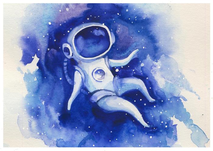 Эксперименты с акварелью вышли в такую серию парящих в звездно-морской акварельной пучине Бродяг. Космос, Акварель, Эскиз, Длиннопост