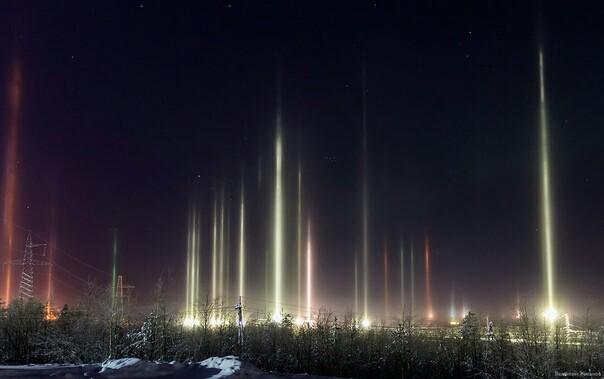Аврора Северное сияние, Север, Зима, Фотография, Длиннопост, Световые столбы