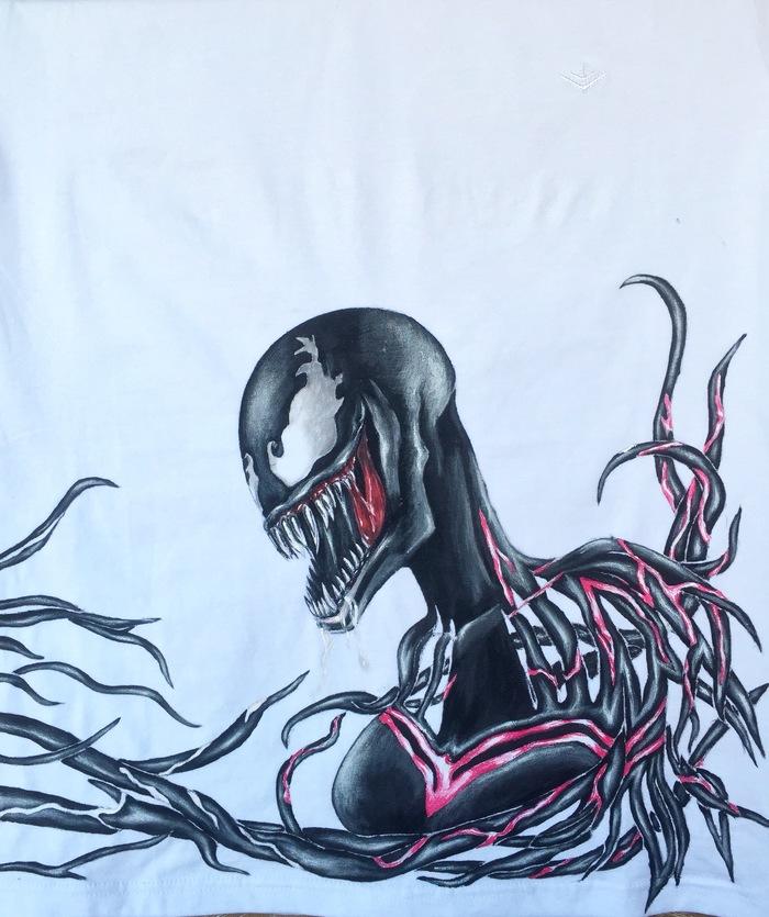 Ручная роспись Venom Ручная работа, Арт, Веном, Роспись, Акрил, Длиннопост, Роспись по ткани, Marvel