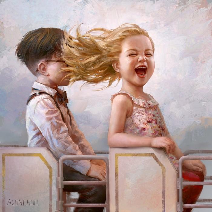 Счастье Арт, Рисунок, Дети, Карусель, Alon Chou