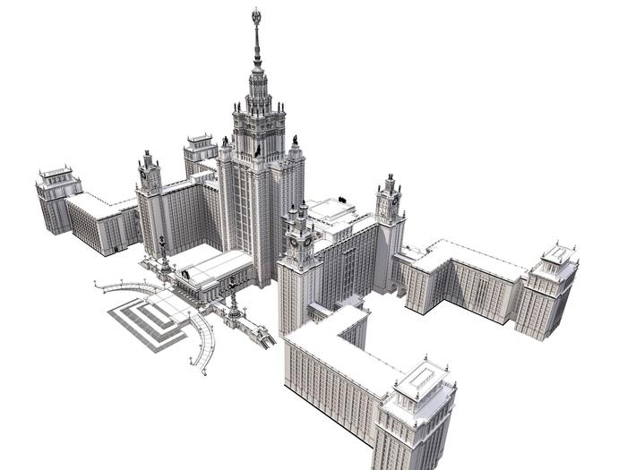 Проект 7 сестёр, или как я смоделировал все сталинские высотки Москвы. Москва, Сталинская высотка, Творчество, Длиннопост, 3ds max, 3D моделирование