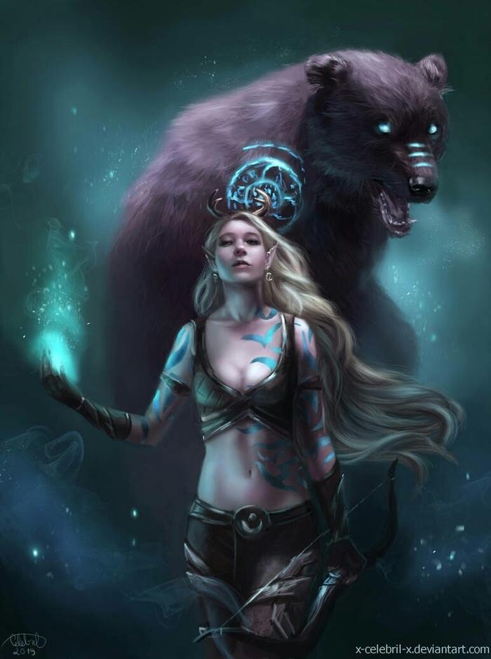 Босмер-хранитель с призванным медведем. Игры, Арт, The Elder Scrolls, The Elder Scrolls Online, Босмер, Эльфийка