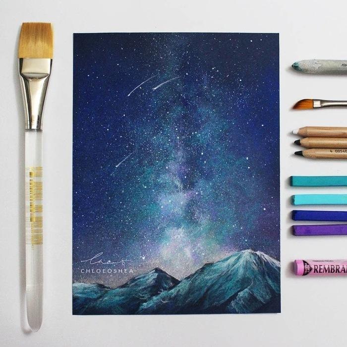 Звездопад Арт, Картина, Рисунок, Художник, Искусство, Звездное небо, Горы, Chloe OShea