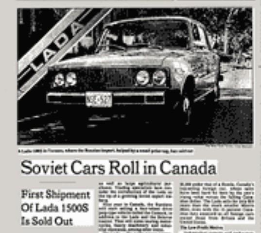 40 лет назад советские автомобили впервые появились на североамериканском рынке Авто, Лада, Канада, СССР, Сделано в СССР