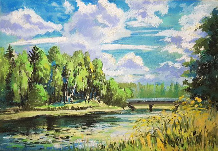Лето в Сиверском Рисунок, Лето, Пастель, Пейзаж, Ленинградская область, Сиверский, Река, Оредеж