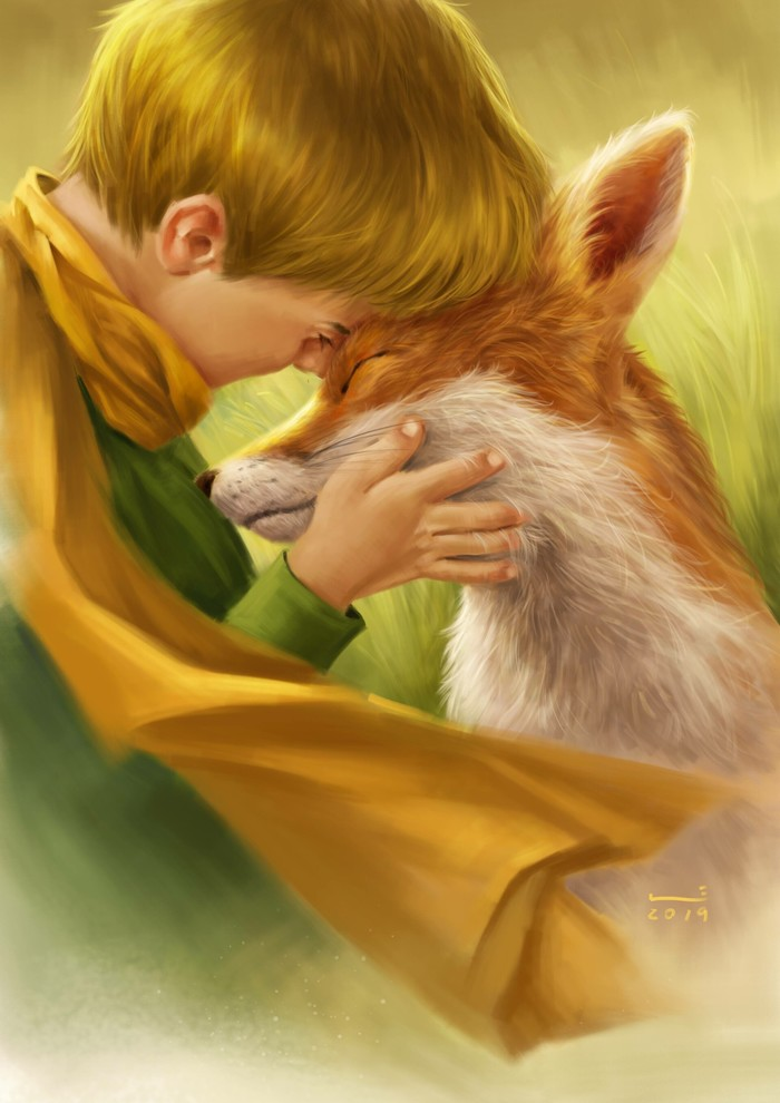 С лисой Арт, Рисунок, Дети, Лиса, Маленький принц