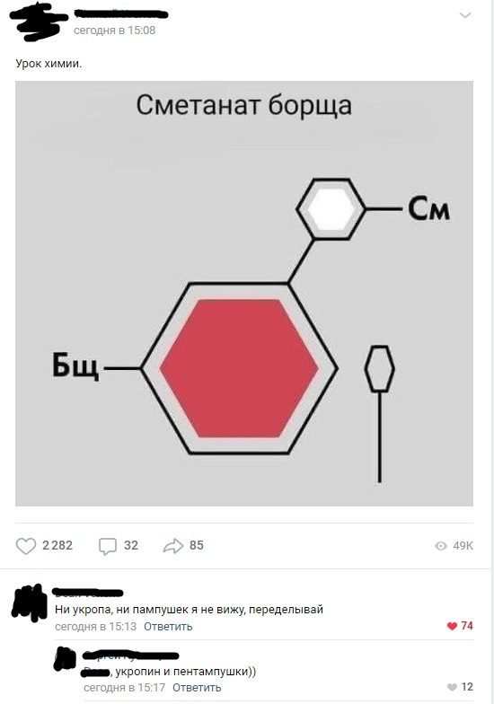 Химия борща Борщ, Юмор, Химия, Комментарии