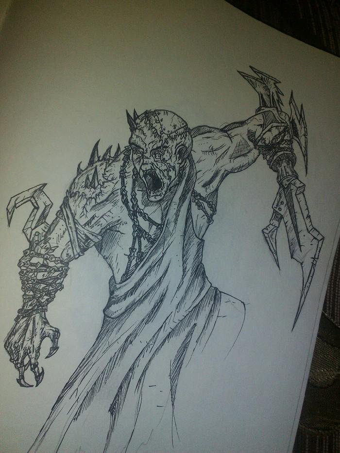 Blind Рисунок карандашом, Скетч, Монстр, Рисунок