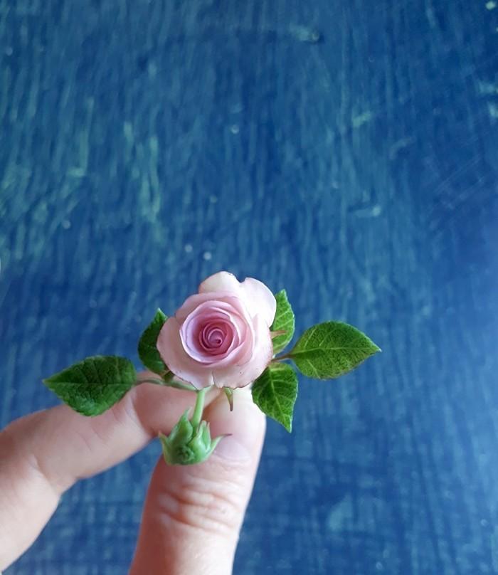 Миниатюрная роза из полимерной глины. Миниатюра, Полимерная глина, Цветы, Ручная работа, Роза, Рукоделие без процесса, Длиннопост