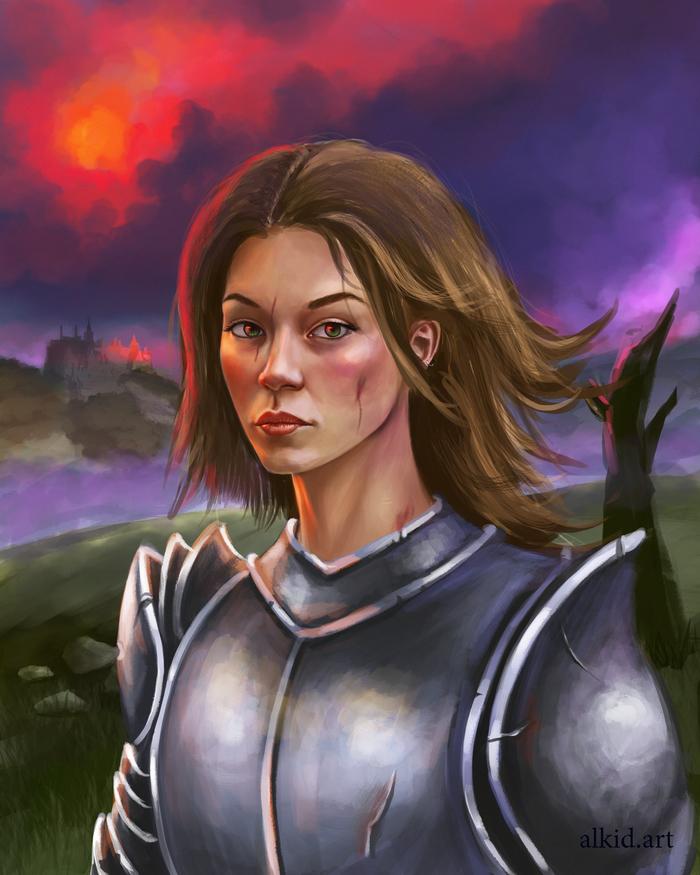 Принцесса или воин? А кто сегодня ты? Портрет, Длиннопост, Рисунок, Photoshop, Цифровой рисунок, Девушки, Принцесса, Воин, Доспехи