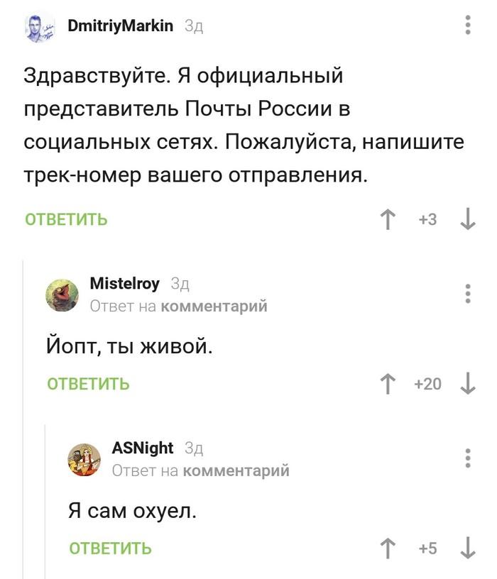 Ты живой Почта России, Скриншот, Комментарии, Комментарии на Пикабу, Мат