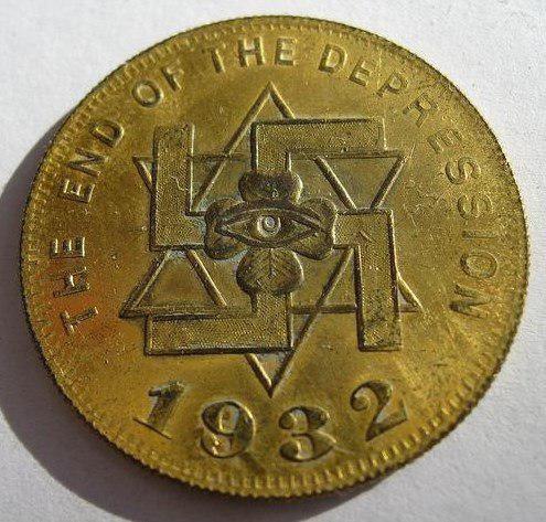 Памятная медаль  выпущенная в США в честь  выхода из «Великой депрессии»