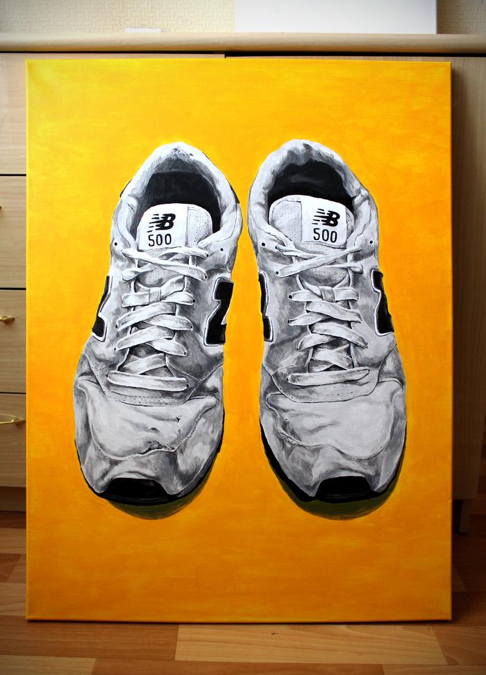 Старые кроссовки New Balance. Холст, акрил. 80х60