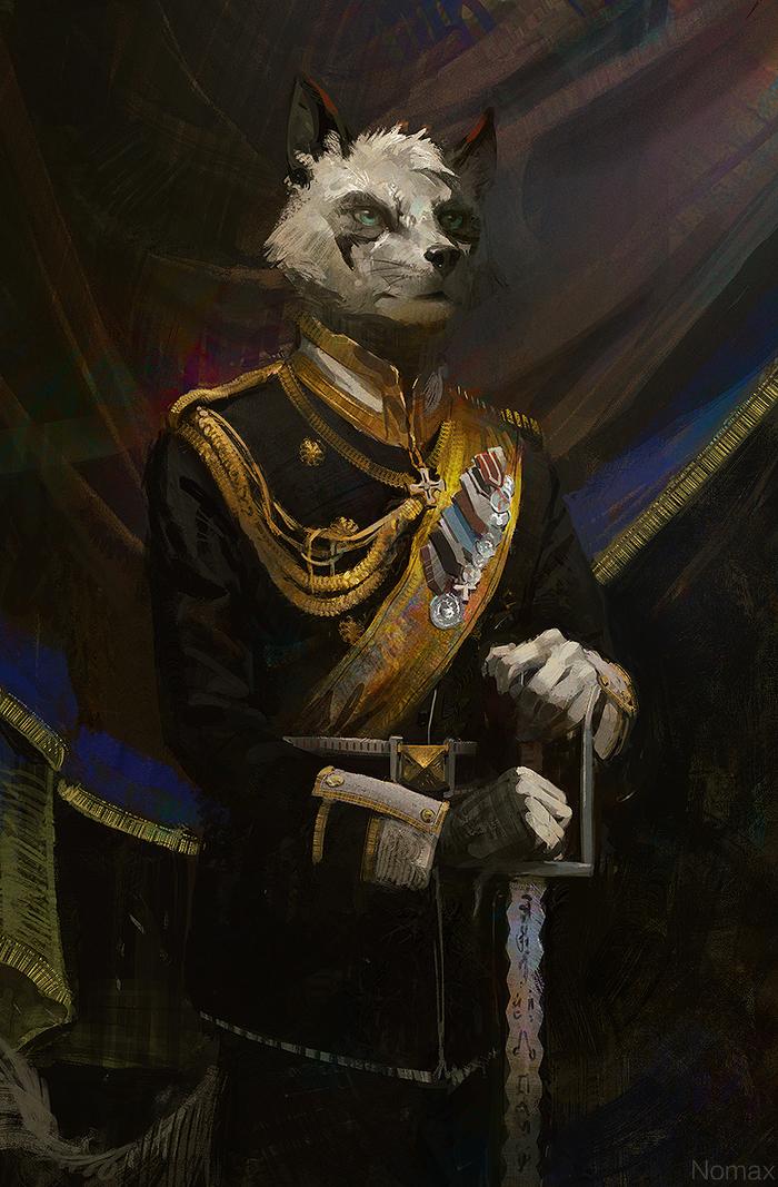 Kaiser style portrait Nomax, Фурри, Арт, Портрет, Медали