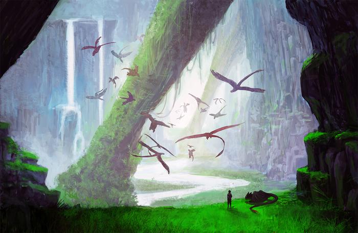 Bewilderbeast Cave Арт, Dreamworks, Мультфильмы, Как приручить дракона, Иккинг, Беззубик, Дракон, Luthfi Goya