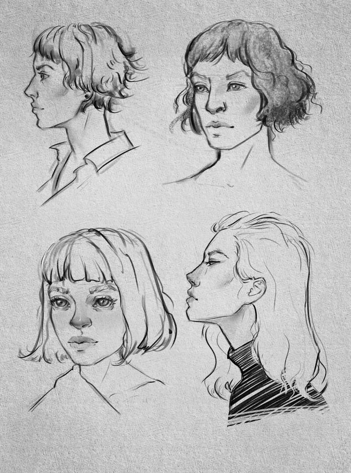 Немного скетчей Рисунок, Скетч, Цифровой рисунок, Девушки, Видео, Krita, Портрет