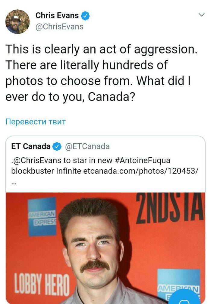 За что, Канада? Крис Эванс, Twitter, Канада, Marvel