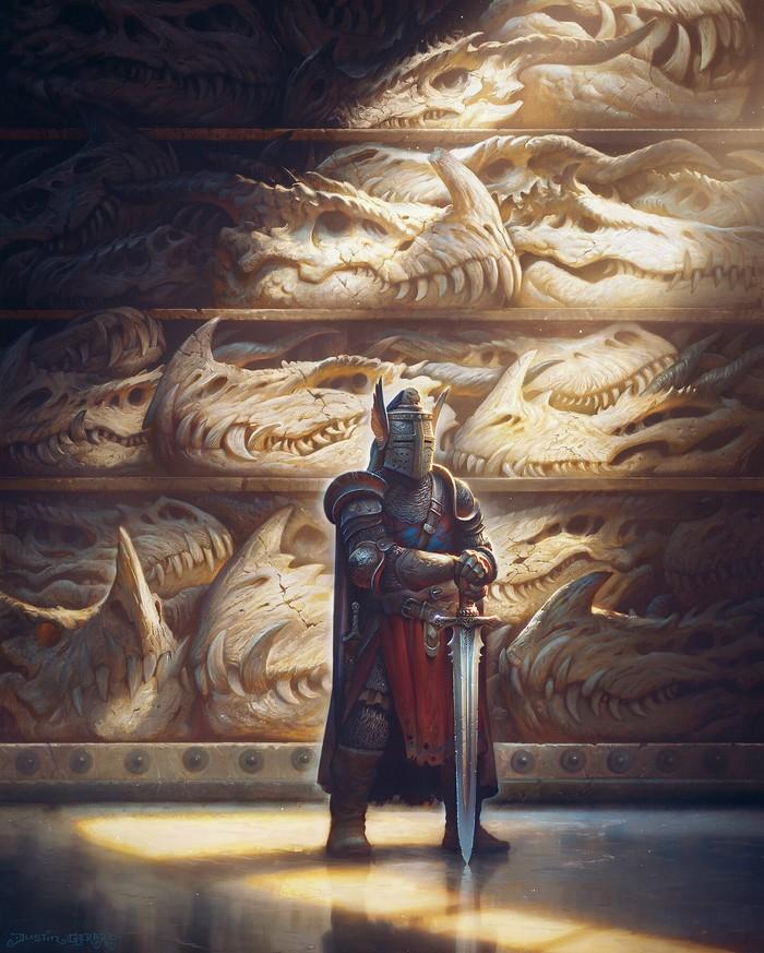 Трофеи Арт, Рисунок, Рыцарь, Убийца драконов, Дракон, Череп, Justingerardillustration