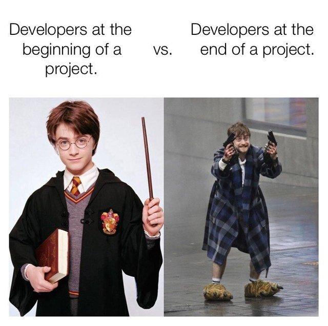 Разработчики в начале и в конце проекта