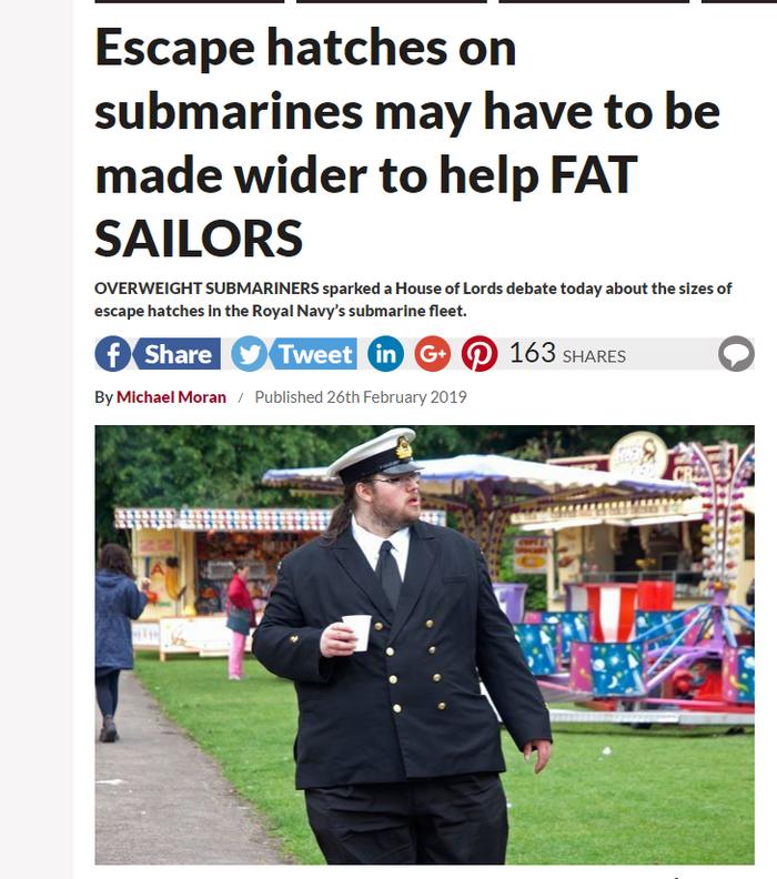 В Британии предложили расширить люки на подлодках для страдающих ожирением военных. Великобритания, СМИ, Скриншот, Прикол, Подводная лодка, Ожирение