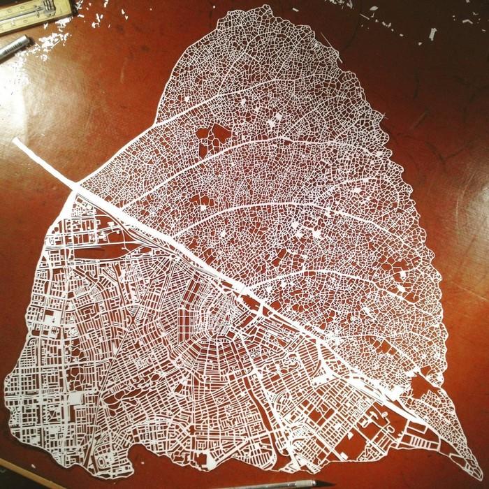 Карта Амстердама в форме листа дерева Амстердам, Лист, Красота, Трафарет