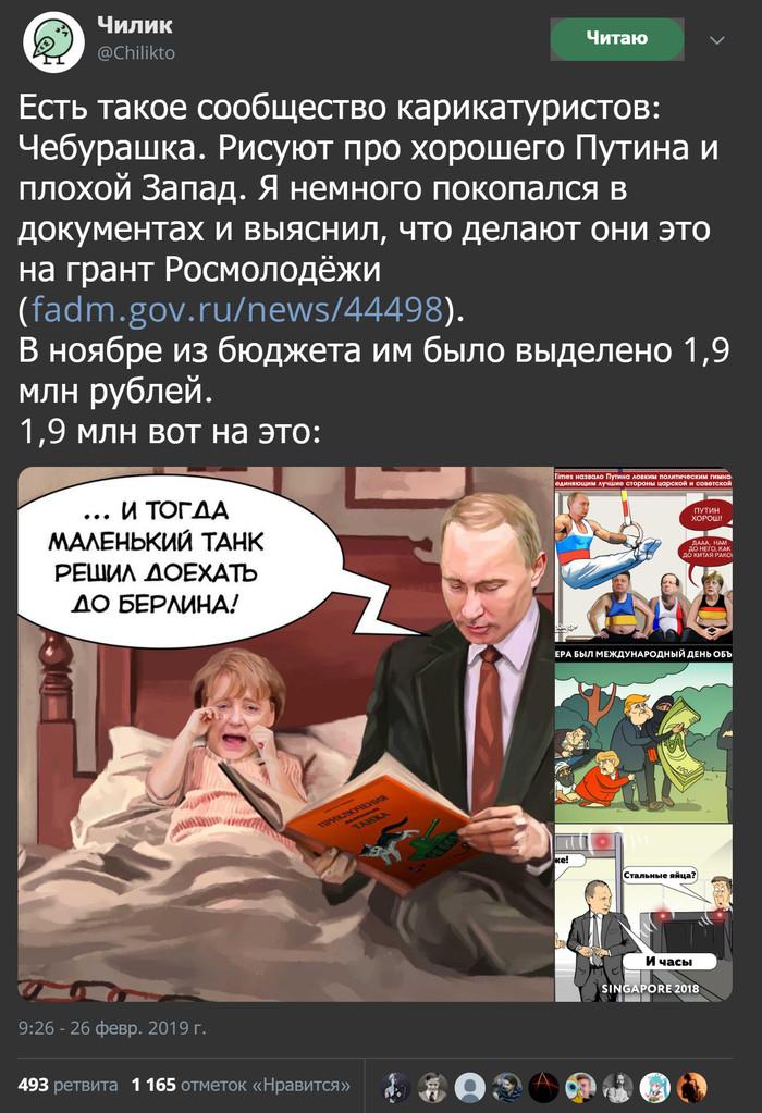 Сообщество карикатуристов, спонсируемое Росмолодежью Чилик, Скриншот, Twitter, Путин, Длиннопост