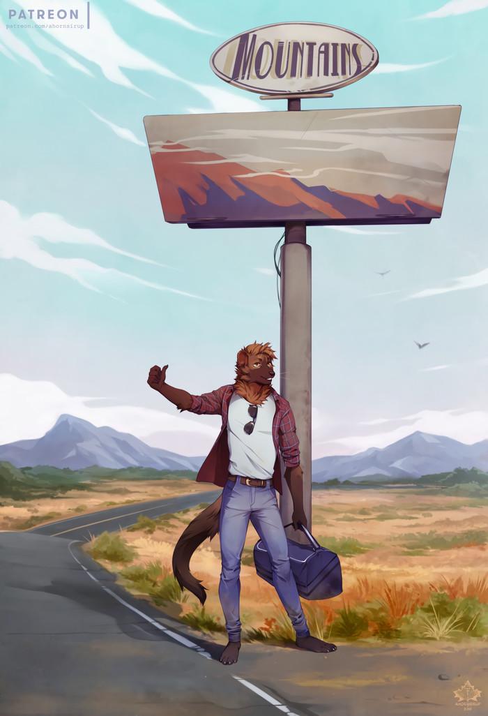 Hitchhiking Фурри, Furry Art, Антро, Furry Mustelidae, Автостоп, Коллаб, Diesel Wiesel, Volcanins