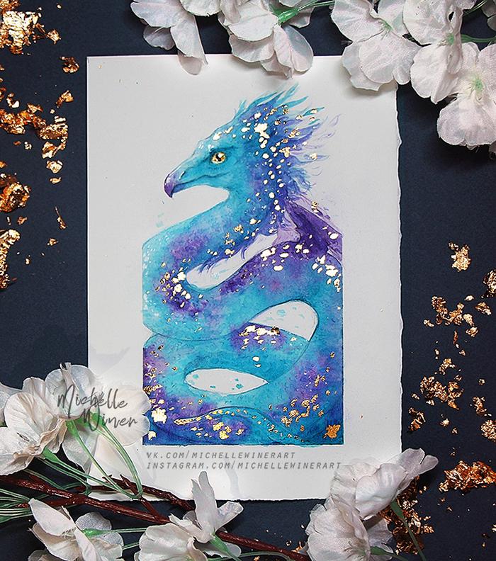 Occamy and Blue Phoenix Феникс, Окками, Фантастические твари, Иллюстрации, Акварель, Поталь, Арт, Длиннопост, Рисунок