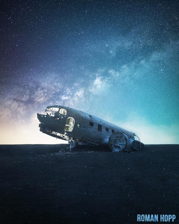 Последняя стоянка Фотография, Исландия, Небо, Звёзды, Астрофото, Млечный путь, Самолет, Обломки