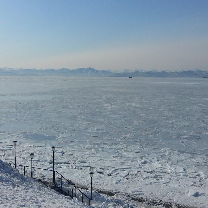 Замёршая Авачинская бухта. Камчатка Камчатка, Бухта, Лед, Вулкан