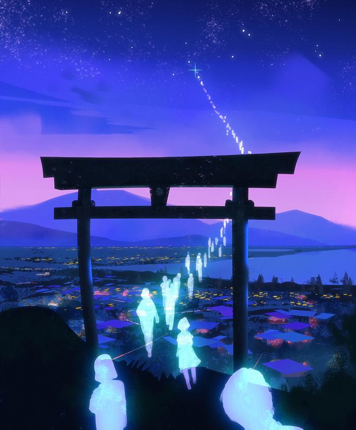 Spirit Shrine Арт, Призрак, Hideyoshi, Япония, Тории