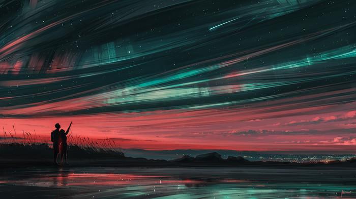 Звезды и ты Арт, Рисунок, Звездное небо, Северное сияние, Alena Aenami