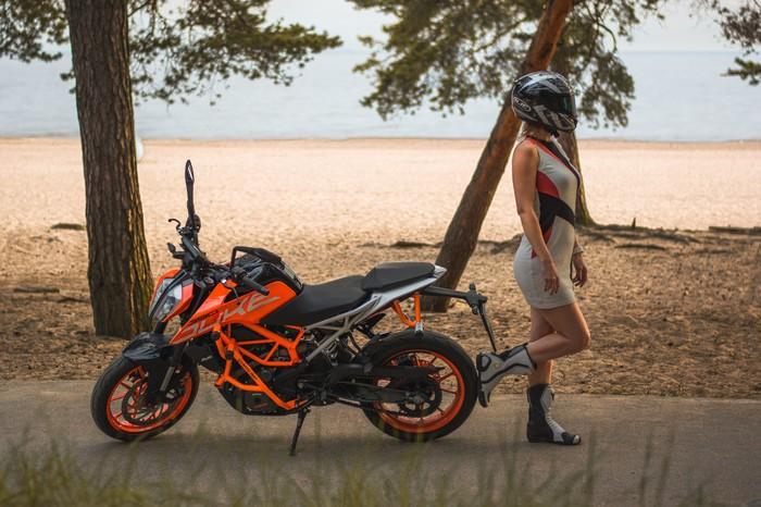 Рыжий мотоцикл Мотоциклы, Мотоциклист, Ktm, Финский залив, Санкт-Петербург, Фотография, Nikon, Девушки, Длиннопост
