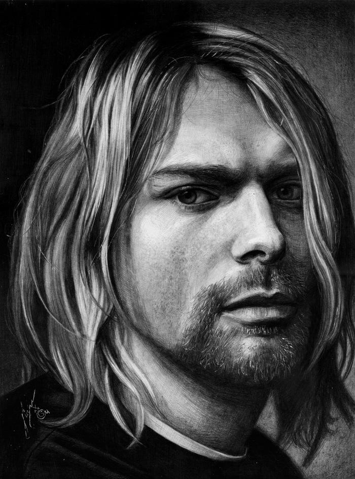 """Портрет простым карандашом. """"Курт Кобейн"""" Рисунок, Портрет, Знаменитости, Курт Кобейн, Nirvana, Исполнители, Музыкант, Фотореализм"""