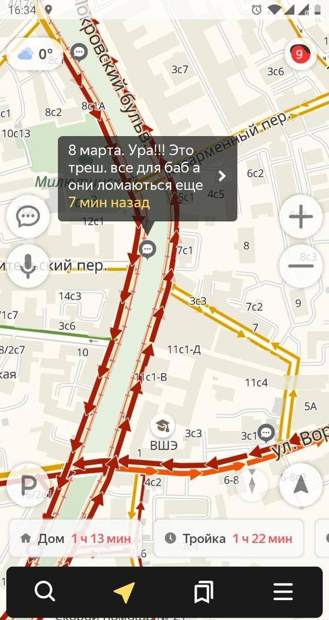 Пробки на 8 марта Москва, Пробки, 8 марта