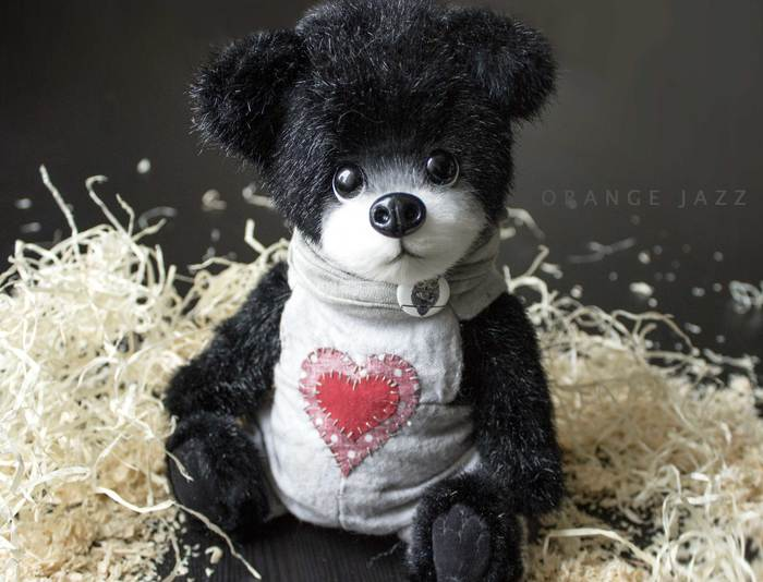 Черный мишка Мишка тедди, Мягкая игрушка, Рукоделие без процесса, Ручная работа, Авторская игрушка, Длиннопост