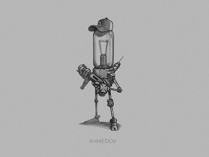 March of robots #2 Робот, Рисунок, Творчество, Цифровой рисунок, Лампочка, Marchofrobots