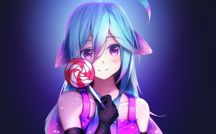 Rainbows & Lolipop Аниме, Anime Art, Anime Original, Animal Ears, Леденец, Обои на рабочий стол