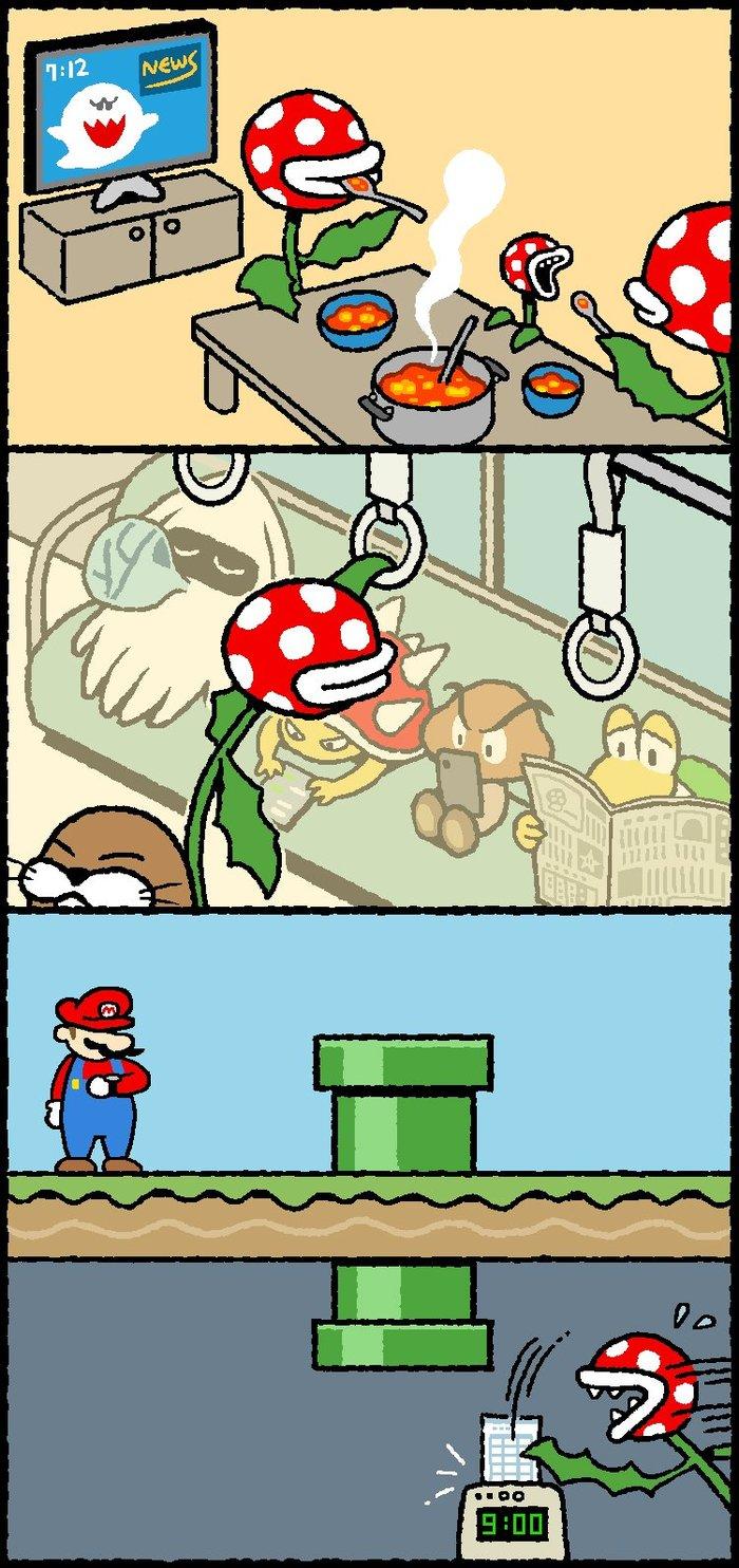 Чуть не опоздал на работу Марио, Комиксы