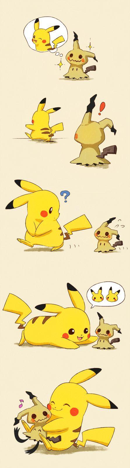 Pikachu and Mimikyu Покемоны, Пикачу, Mimikyu, Длиннопост, Комиксы