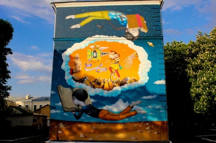 Муралы одного города (part 3) Мурал, Граффити, Рисунок, Дом, Город, Стрит-Арт, Длиннопост