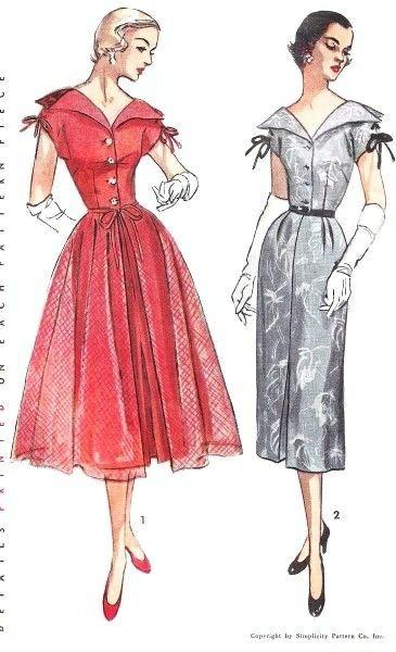 Фасоны платьев, 1950-е Красивые платья, Винтаж, 50-е, Длиннопост
