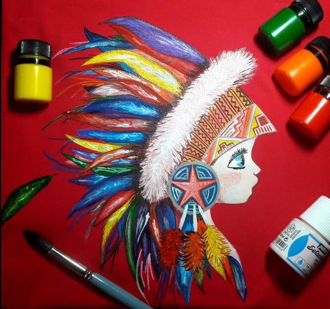 Когда заказчик проявил доверие) Акрил, Роспись по ткани, Роспись, Индейцы, Длиннопост