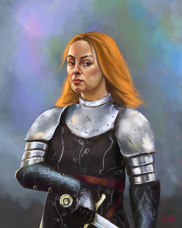 Рыжая женщина в доспехах Арт, Воительница, Цифровой рисунок, Рисунок, Девушки, Воин, Доспехи