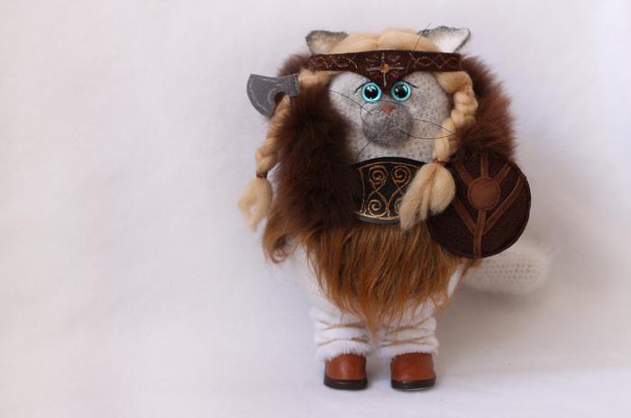 Кошка-викинг Женщина-Кошка, Кот, Викинги, Амазонка, Авторская игрушка, Ручная работа, Рукоделие без процесса, Длиннопост