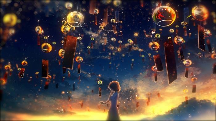 Фонари Аниме, Anime Art, Anime Original, Вечер, Фонарь, Весна